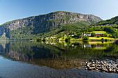 Reflections in still water at Lake Granvinvatnet, Hordaland, Vestlandet, Norway, Scandinavia, Europe