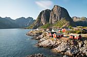 Hamnoy where rorbu (fishermen's huts) are now used for tourist accommodation, Lofoten Islands, Norway, Scandanavia, Europe
