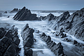 Dramatic rocks in winter on the North Devon coast, Devon England, United Kingdom, Europe