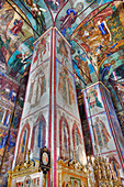 Frescoes, Holy Dormition Cathedral, The Holy Trinity St. Sergius Lavra, Sergiev Posad, Golden Ring, Moscow Oblast, Russia, Europe