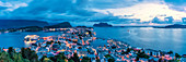 Panoramic of Alesund and ocean from Aksla mountain at night, More og Romsdal county, Norway, Scandinavia, Europe