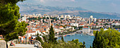 Panoramic view from above the town of Split Town and Cathedral of Saint Domnius, Split, Dalmatian Coast, Croatia, Europe