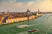 View of Venice from cruise ship at daybreak, Venice, UNESCO World Heritage Site, Veneto, Italy, Europe