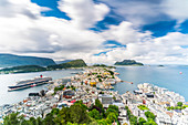 Overview of Alesund and ocean from Byrampen lookout, Aksla, More og Romsdal county, Norway, Scandinavia, Europe