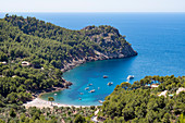 The secluded bay of Cala Tuent on the rugged north west coast of the Mediterranean island of Mallorca, Balearic Islands, Spain, Europe