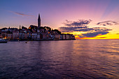 View of Old Town and Cathedral of St. Euphemia after sunset, Rovinj, Istria, Croatia, Adriatic, Europe
