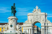 Praca do Comercio square, King Jose I Equestrian Statue and Augusta Street Triumph Arch, Lisbon, Portugal, Europe
