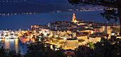 View over the Old Town of Korcula at night, Island of Korcula, Dalmatia, Croatia, Europe