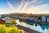 Sunrise over Limmat River seen from Lindenhof Hill, Zurich, Switzerland, Europe
