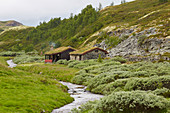 Huts and stream at Vollum in the Rondane area, Rondanevegen, Hedmark, Norway, Europe