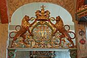 Royal monogram of Fredrik IV in Ringebu Stave Church, Stavkyrkje Ringebu, Ringebu, Gudbrandsdalen, Rondanevegen, Oppland, Norway, Europe