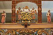 Carved choir arch in the Vaga Stave Church, Stavkyrkje Vaga, Vagakyrkja, Vagamo, Oppland, Norway, Europe