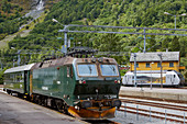 Flamsbana Museet, museum with the old train in Flam, Aurlandsfjorden, Sogn og Fjordane, Norway, Europe
