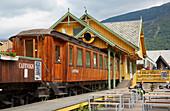 Old Flamsbana railway carriage serves as a café in Flam, Aurlandsfjorden, Sogn og Fjordane, Norway, Europe
