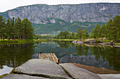 Stone landscape on the river Otra at Honnevje bathing place, Valle, Setesdalen, Aust-Agder, Norway, Europe