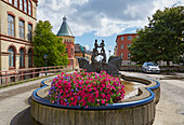 Kristiansand, fountain with sculpture in Holbergs gata, Vest-Agder, Skagerak, Norway, Europe