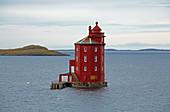 Kjeungskjaeret Fyr (Kjeungskjaer Fyr) lighthouse in Bjungfjorden near Uthaug, Sör-Trondelag Province, Trondelag, Norway, Europe