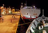 Hurtigruten ship in the port of Roervik, night, Vikna island, Trondelag province, Namdalen district, Norway, Europe