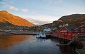 Ship in the port of Oernes, Nordland Province, Salten District, Helgeland Coast, Norway, Europe