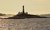 Landegode lighthouse fyr on the island of Landegode in the Landegofjorden (Landegofjord) near Bodö, Nordland Province, Nordland, Norway, Europe