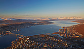 View from Fjellheisen to Tromsö in Tromsöysundet, snow, Troms, Norway, Europe