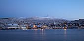 Hammerfest at dawn with snow, Kvalöya Island, Finnmark Province, Vest-Finnmark, Norway, Europe