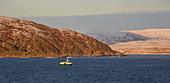 Fishing boat in Rolvsöysundet, Rolvsöya Island, Finnmark Province, Vest-Finnmark, Norway, Europe