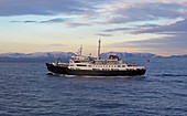 Hurtigruten ship MS Lofoten in front of Havöysund, Havöya Island, Breisundet, Finnmark Province, Vest-Finnmark, Norway, Europe