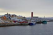 Snow-covered Honningsvag with harbor, Mageröya Island, Porsangen, Finnmark Province, Vest-Finnmark, Norway, Europe