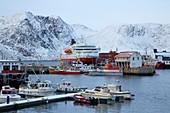 Snow at the harbor in Honningsvag, Mageröya Island, Porsangen, Finnmark Province, Vest-Finnmark, Norway, Europe