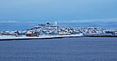 View of Vardö with the Globus II radar station, snow, Vardöya Island, Barents Sea, Finnmark Province, Norway, Europe