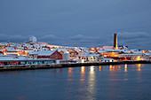 View of Vardö with church and Globus II radar station, Vardöya Island, Barents Sea, Finnmark Province, Norway, Europe
