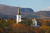 View of Church in Sortland at Sortlandsundet, Langoeya, Vesteralen, Nordland Province, Norge, Norway, Europe