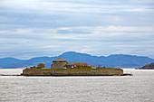 Munkholmen Fortress in front of Trondheim, Trondheimsfjorden, Trondheim, Soer-Troendelag Province, Troendelag, Norway, Europe