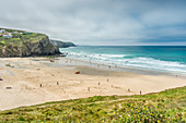 Porthtowan beach from the cliffs above, on the west Cornwall coast, England, United Kingdom, Europe