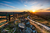 Sunrise above Lose Hill and Back Tor from Mam Tor, Hope Valley, Peak District, Derbyshire, England, United Kingdom, Europe