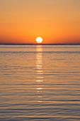 Golden sunrise over the Sea of Crete, Rethymno (Rethymnon), Crete, Greek Islands, Greece, Europe