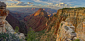 Panorama of Grand Canyon viewed from Buggeln Point just east of Buggeln Hill on the South Rim around sundown, Grand Canyon National Park, UNESCO World Heritage Site, Arizona, United States of America, North America
