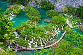 Aerial view of the boardwalk at Plitvice Lakes National Park, UNESCO World Heritage Site, Croatia, Europe