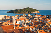 View over the old town and Lokrum island from the city walls, Old Town, UNESCO World Heritage Site, Dubrovnik, Croatia, Europe