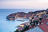 Aerial view of Dubrovnik's old town, UNESCO World Heritage Site, Dubrovnik, Croatia, Europe