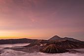 Mount Bromo, Mount Batok and Mount Semeru volcanos at sunrise, Java, Indonesia, Southeast Asia, Asia
