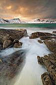 Haukland Beach in winter, Lofoten, Nordland, Norway, Europe