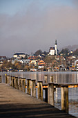 View of Starnberg from the bathing jetty in Starnberg, Percha district, Bavaria, Germany