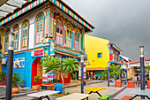 Marktstraße in Little India, Singapur, Asien