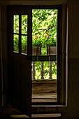 View of the balcony of a farmhouse, Upper Bavaria, Bavaria, Germany