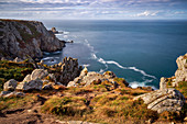 Late summer afternoon on the northern Breton coast, Brittany, France