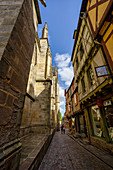 Out and about in the narrow streets of Vannes, Morbihan, Brittany, France, Europe