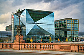 Cube Berlin, modern office building on Washingtonplatz near the main train station, Moltkebrücke, glass facade, Berlin, Germany