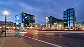 Cube Berlin, modern office building on Washingtonplatz, Hauptbahnhof, Lehrter Bahnhof, blue hour, Berlin, Germany
